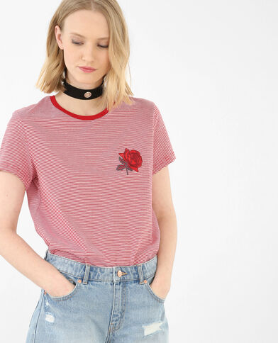 T-shirt a righe patch ricamato rosso