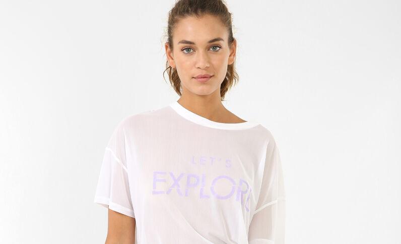 T-shirt van nettricot ecru