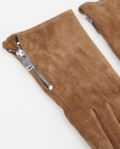 Gants croûte de cuir camel