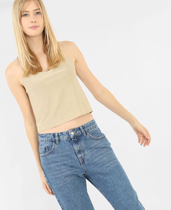 Cropped-Top aus Lurex Beige