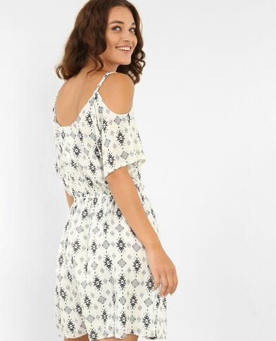Soepele jurk met peekaboomouwen gebroken wit