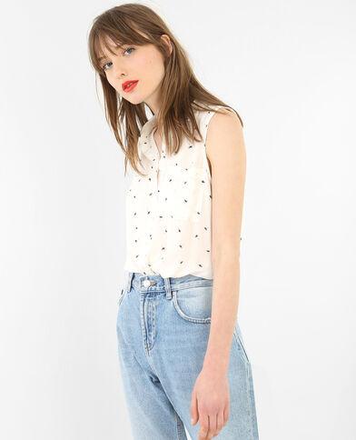 Blusa estampada sin mangas marfil