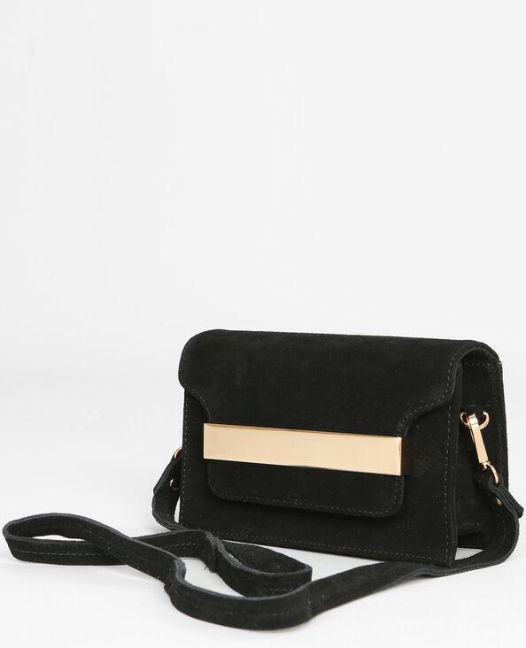 Bolso cuadrado con placa de metal negro