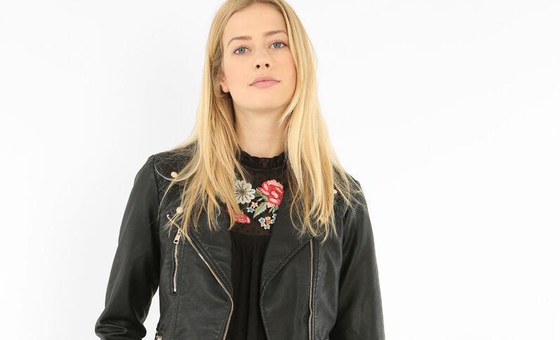 Biker-Jacke aus Kunstleder Schwarz