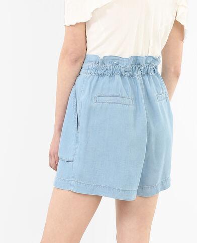 Shorts vaporosos de talle alto azul