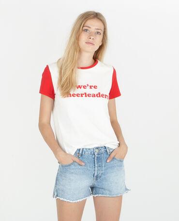 T-shirt à message bicolore blanc cassé