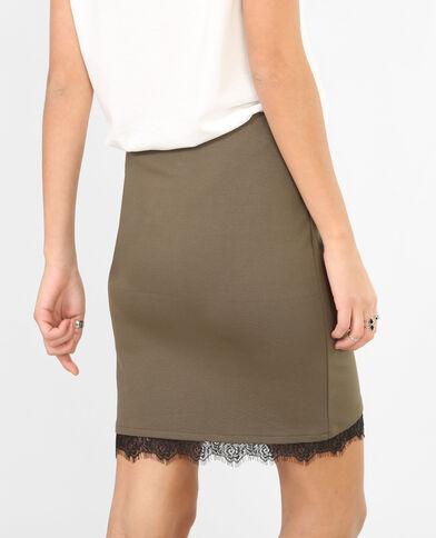 Mini jupe avec dentelle kaki