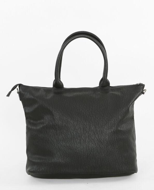 Borsa shopping con zip nero
