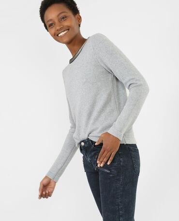 Jersey con cuello de bisutería gris claro jaspeado