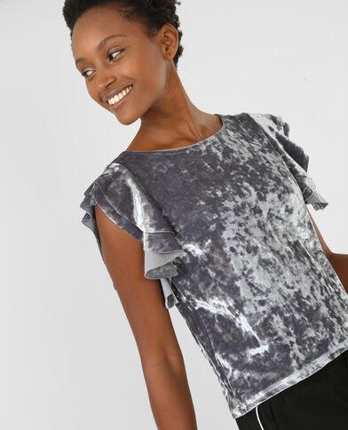 Camiseta de terciopelo gris