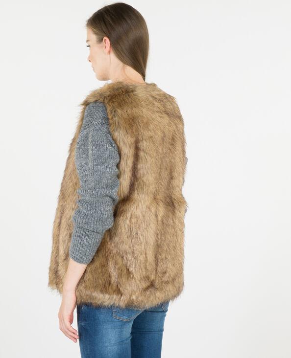 Cardigan pelliccia ecologica caramello