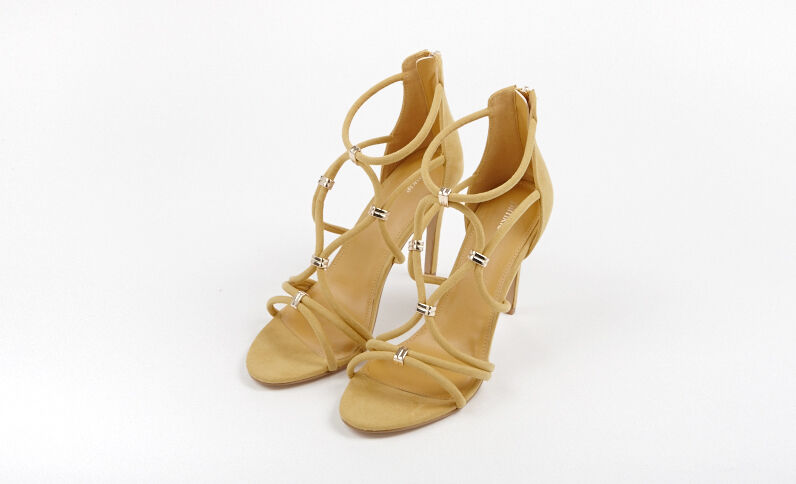 Sandales à talons moutarde