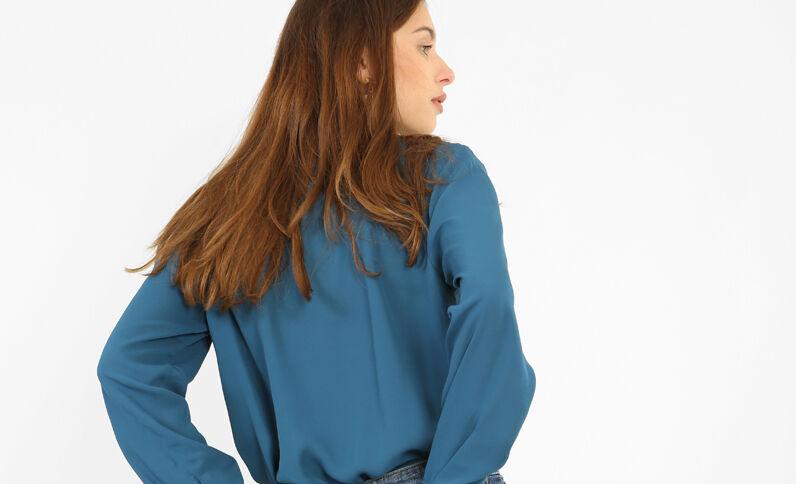 Blouse met gekruiste hals eendenblauw