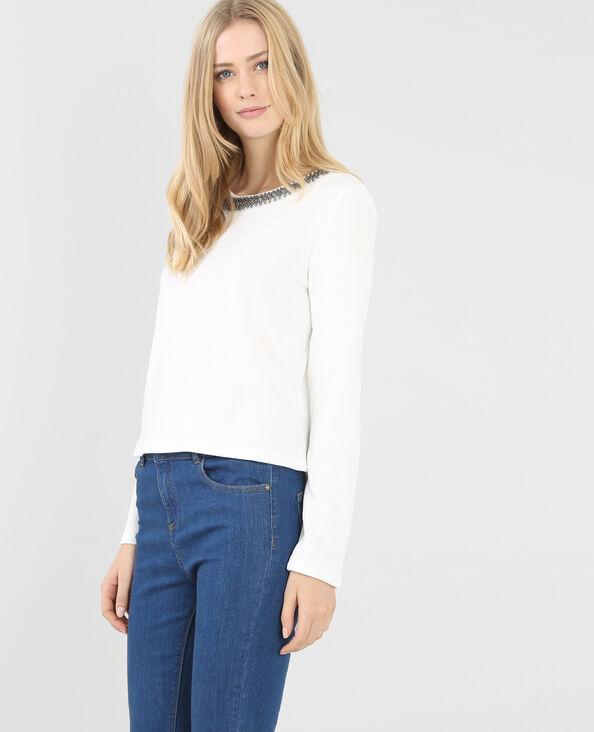 T-shirt collo gioiello bianco sporco