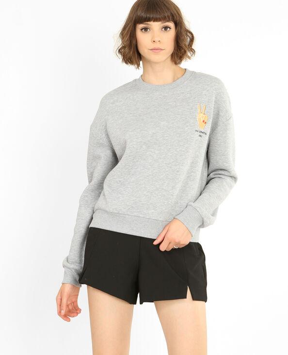 Bestickter Sweater Grau