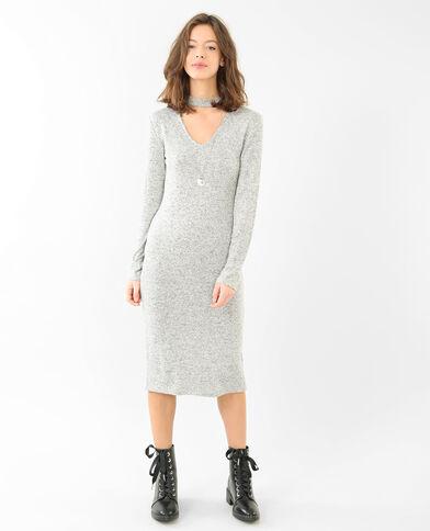 Tricot jurk met chokerkraag gemêleerd grijs