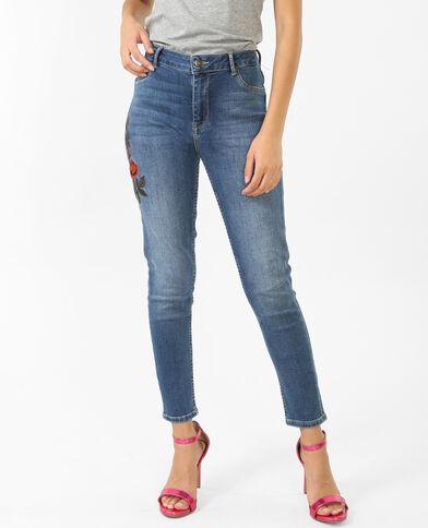 Jean skinny brodé bleu denim