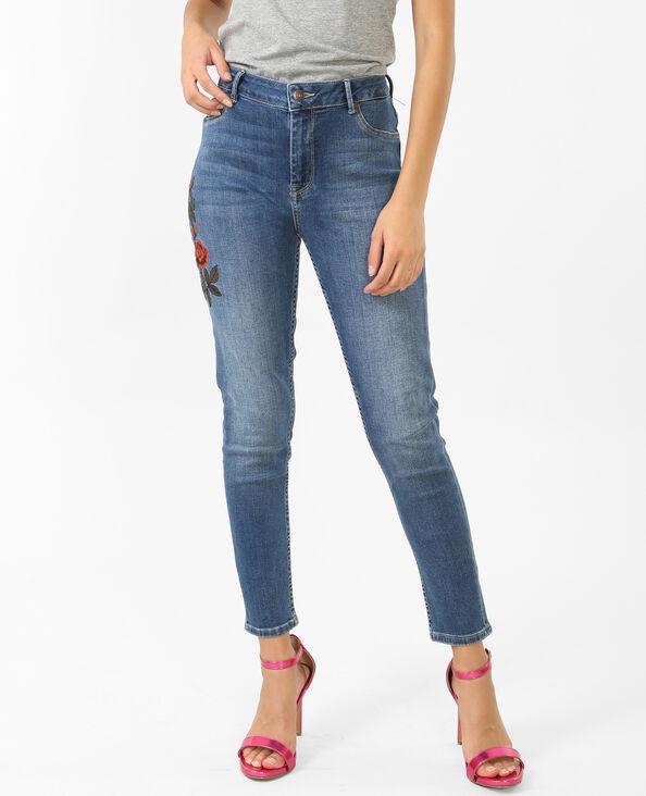 Jeans skinny ricamati blu denim