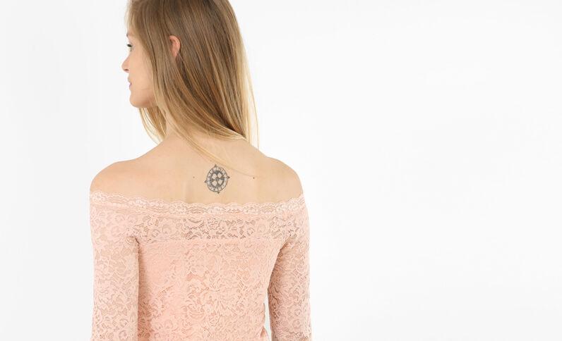Kanten T-shirt roze