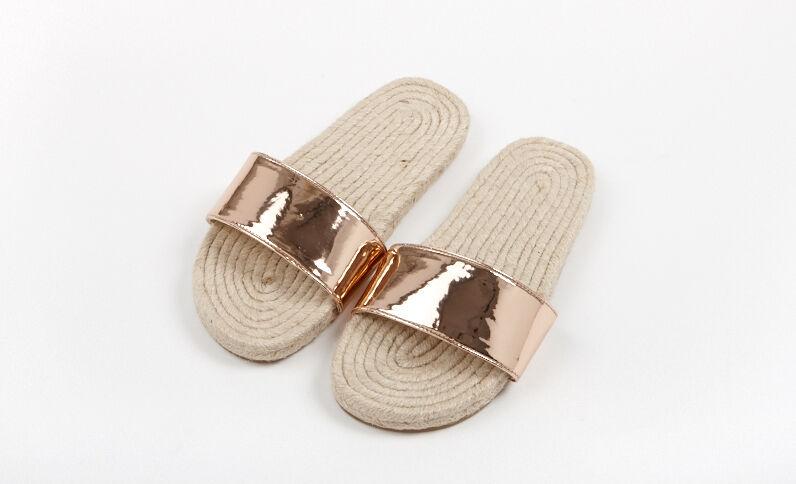 Sandalen met touwzool koperrood
