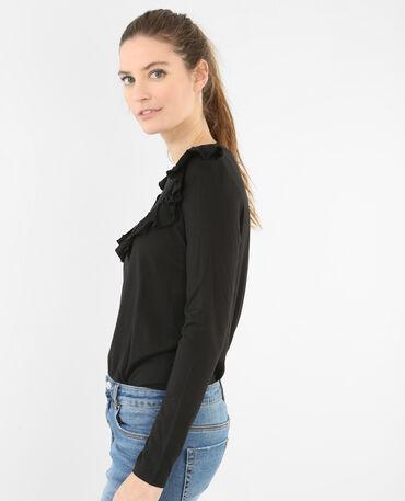 T-Shirt mit Rüsche Schwarz