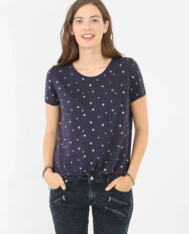 T-Shirt mit Sterne-Print Blau