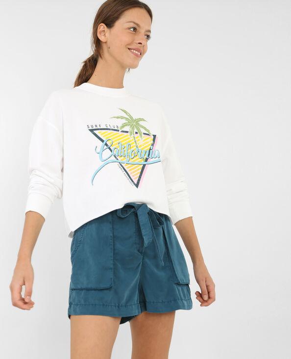 Kurzes bedrucktes Sweatshirt Naturweiß