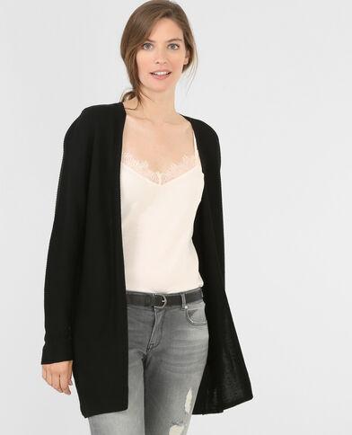 Cardigan maglia a coste nero