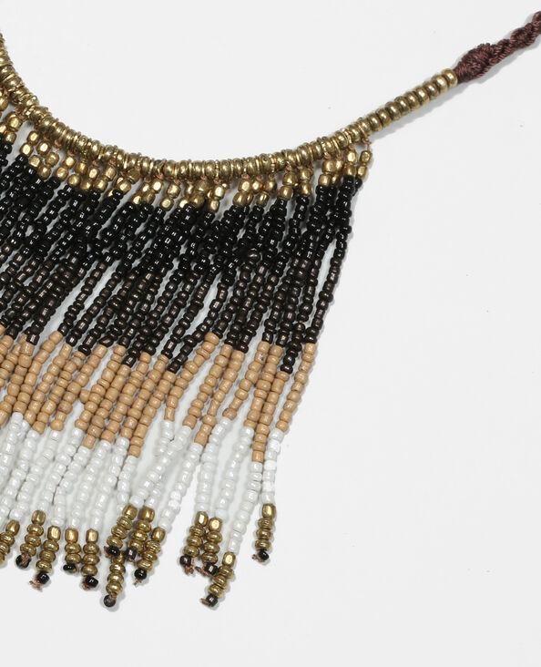 Collana perle con frange marrone