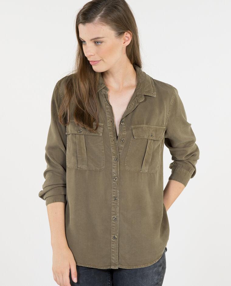 Bluse aus Tencel mit Taschen Khaki