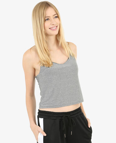 Cropped-Top aus Lurex Anthrazitgrau