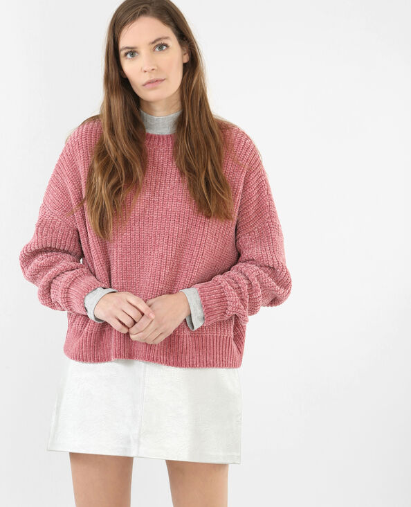 Pull ample chenille rose