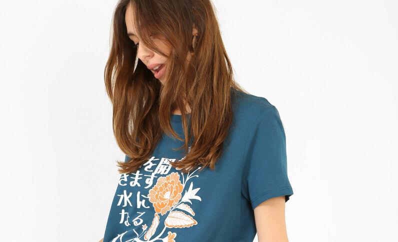 T-shirt à imprimés asiatiques bleu canard