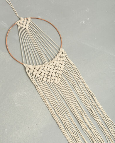 Wandteppich mit Metallaufhängung Naturweiß