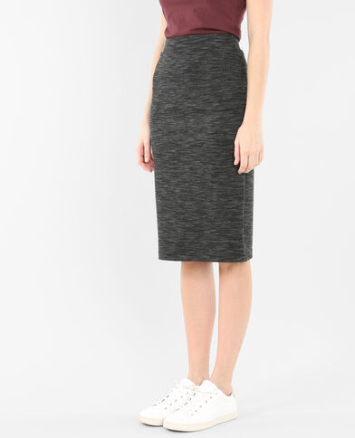 Gonna midi bodycon grigio chiné