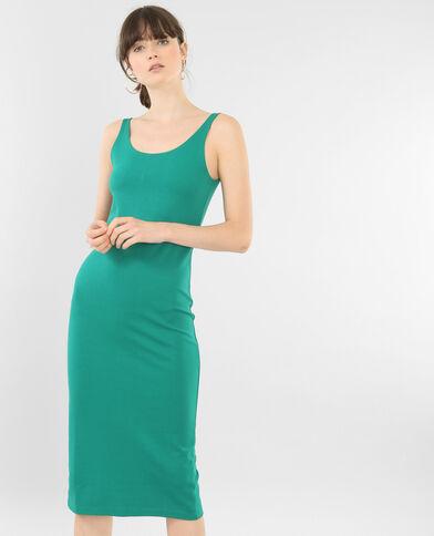 Strakke lange jurk dennengroen