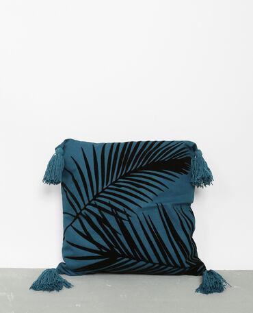 Housse de coussin à motif bleu