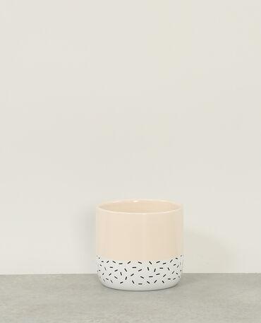 Macetero de cerámica beige rosado