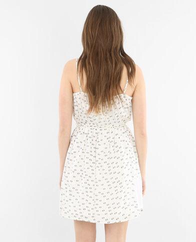Bedrucktes Kleid Naturweiß