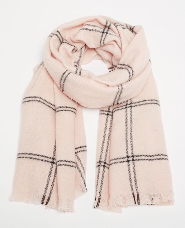 Warme sjaal met ruitjes bleekroze