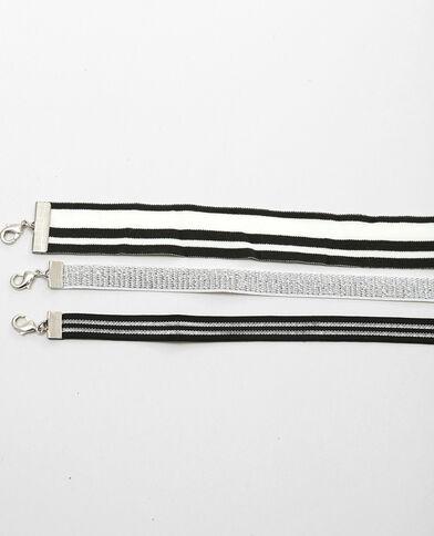 Set van elastische chokerkettingen zilvergrijs