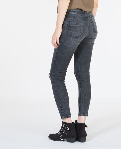 Jeans skinny destroy grigio delavato