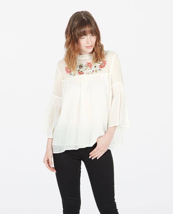 Geborduurde blouse van nettricot gebroken wit