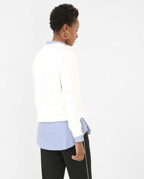 Sweatshirt mit gesticktem Brusteinsatz Altweiß