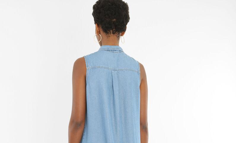 Vestido camisero sin mangas azul