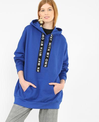 Felpa lunga con cappuccio blu elettrico