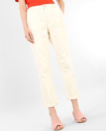 Jeans di ispirazione carpentiere bianco sporco