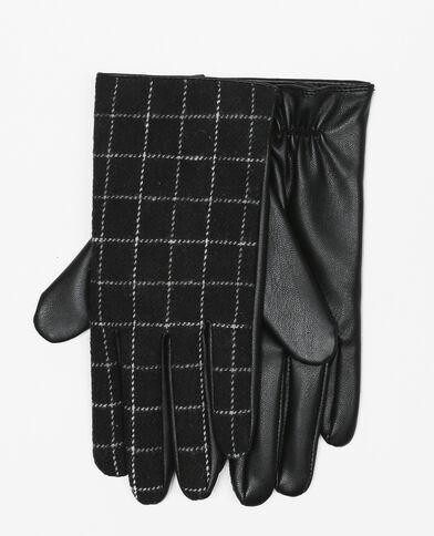 Handschuhe aus Materialmix mit Karomuster. Schwarz