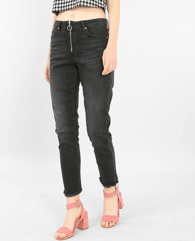 Slim-Jeans mit Reißverschluss Ausgewaschenes Grau