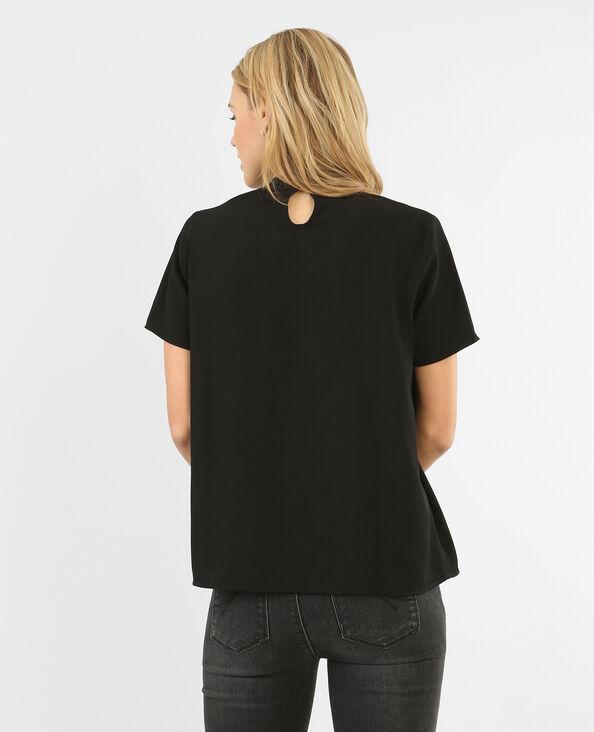 Bluse mit Choker-Kragen Schwarz